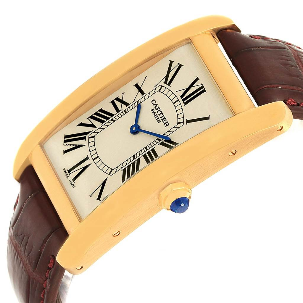 15017 Cartier Tank Americaine Paris Yellow Gold Mechanical Mens Watch 1735 SwissWatchExpo
