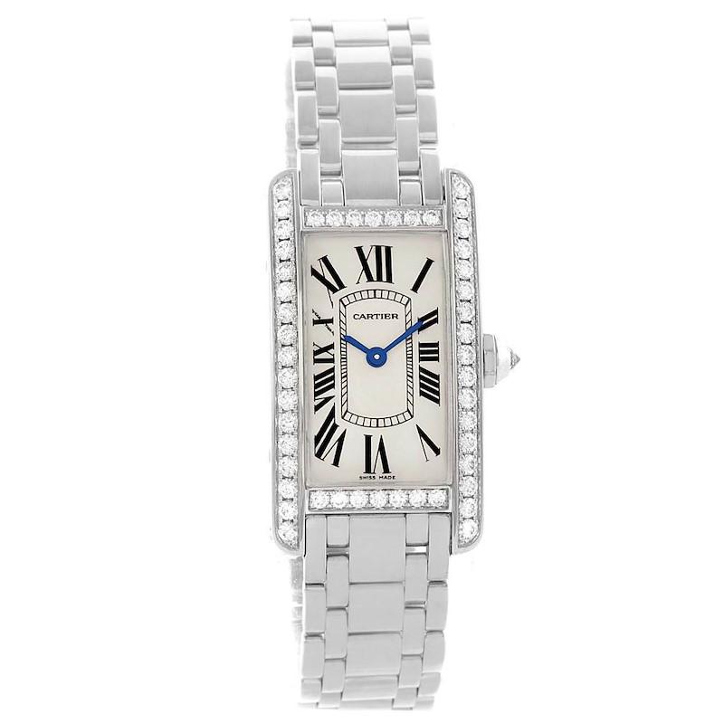 Cartier Tank Americaine 18K White Gold Diamond Watch WB7073L1 SwissWatchExpo