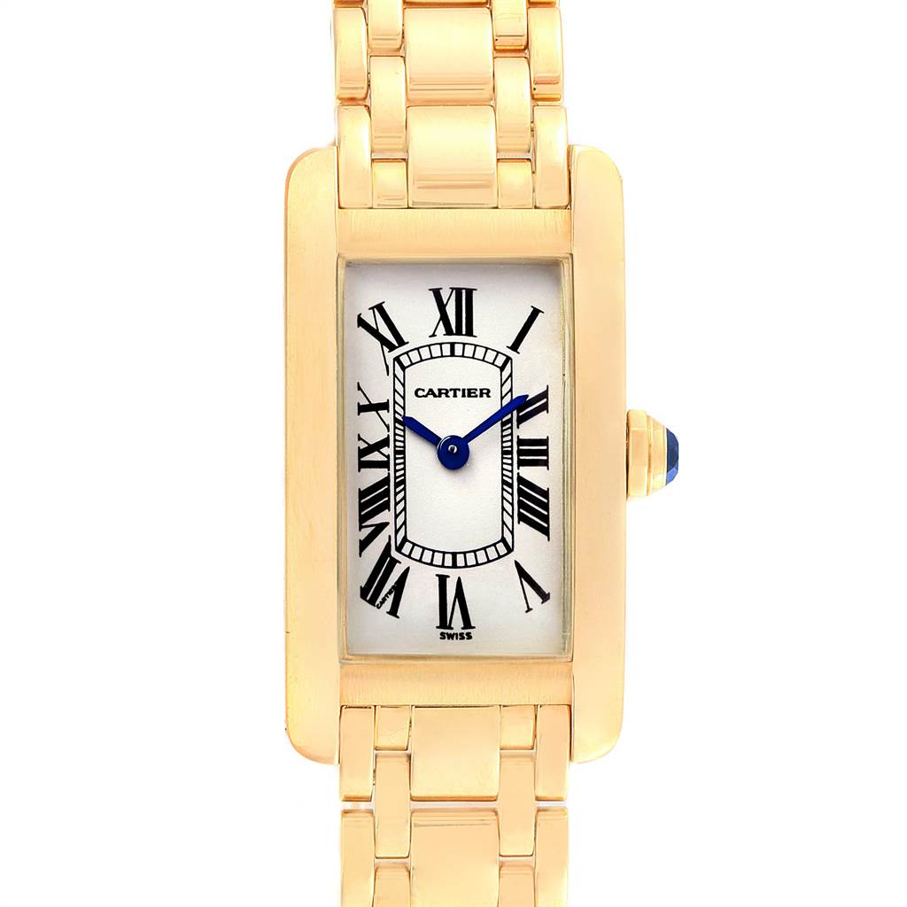 16997 Cartier Tank Americaine 18K Yellow Gold Ladies Watch W26015K2 SwissWatchExpo