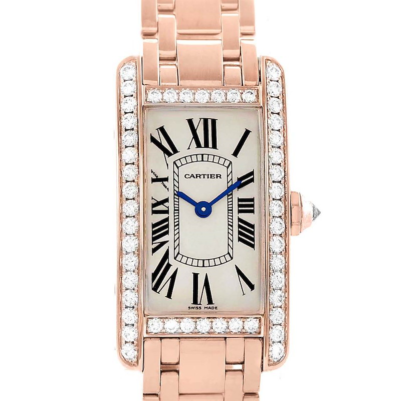 Cartier Tank Americaine 18K Rose Gold Diamond Watch WB7079M5 SwissWatchExpo