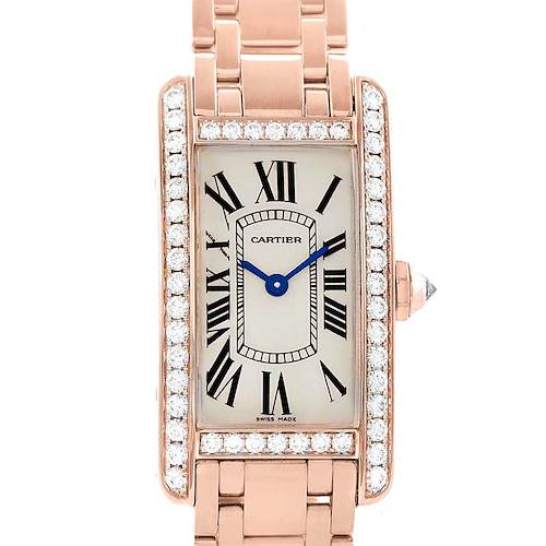 Photo of Cartier Tank Americaine 18K Rose Gold Diamond Watch WB7079M5