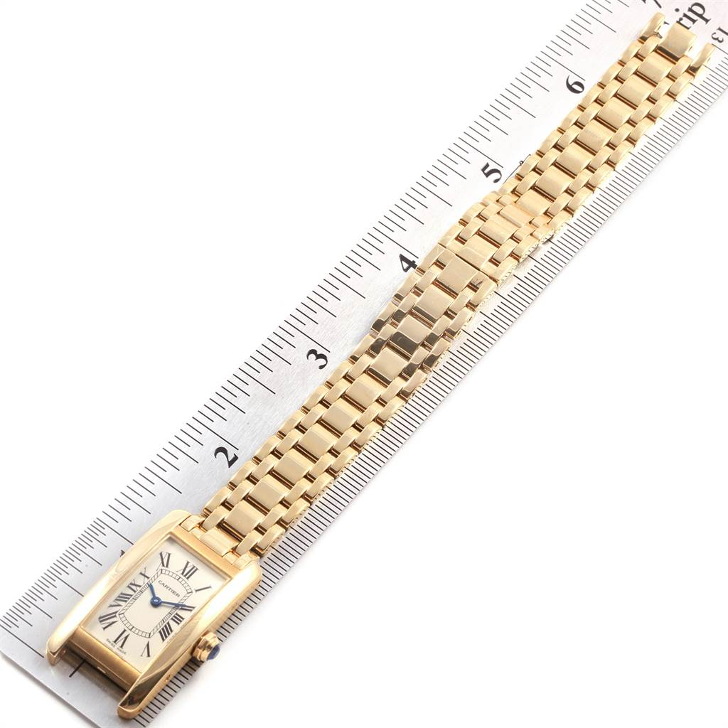 19702 Cartier Tank Americaine 18K Yellow Gold Ladies Watch W26015K2 SwissWatchExpo
