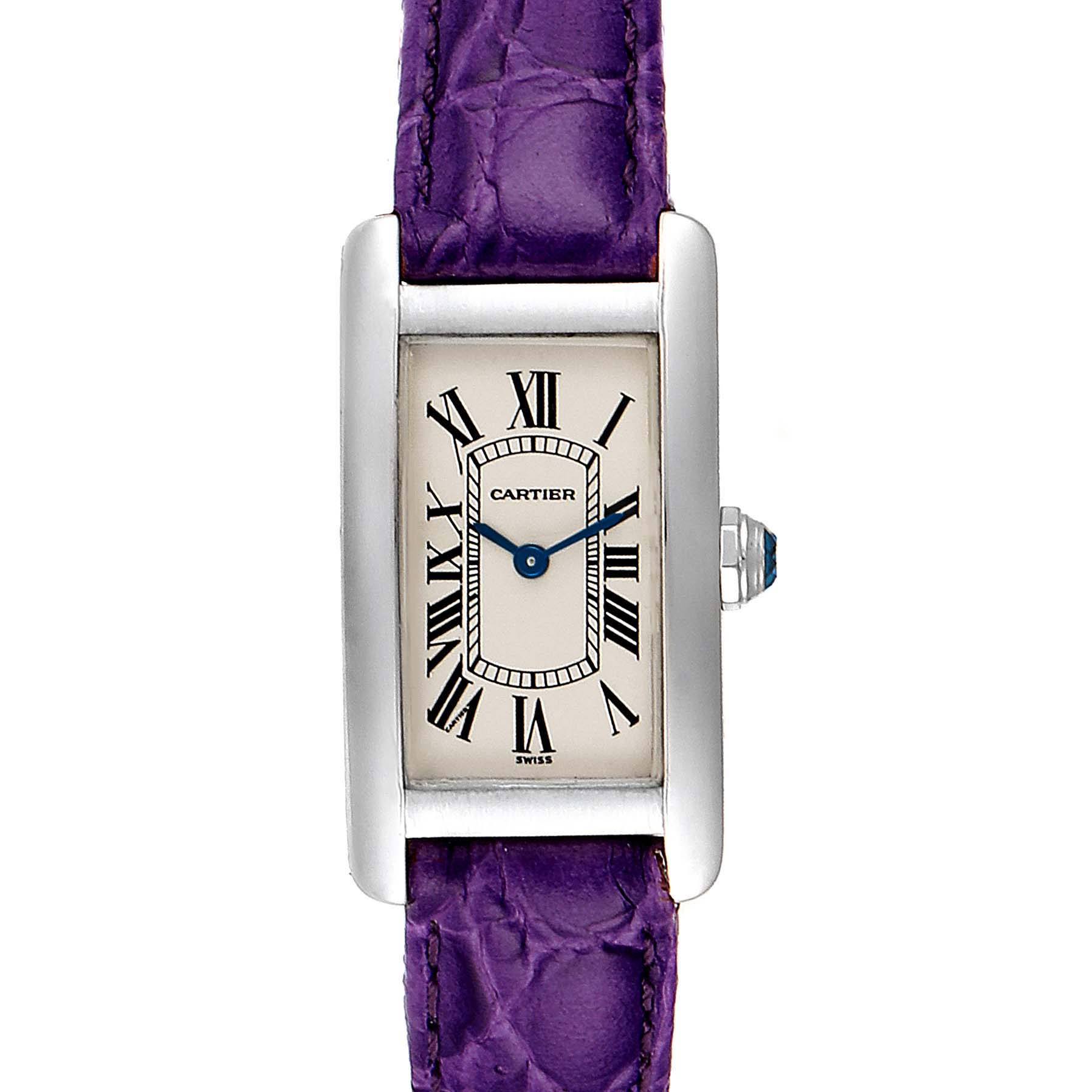 Cartier Tank Americaine 18K White Gold Ladies Watch W2601956 SwissWatchExpo