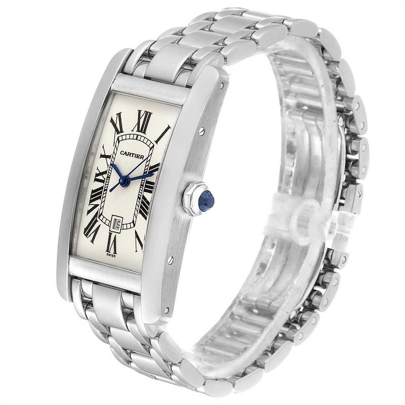 Cartier Tank Americaine Midsize White Gold Automatic Ladies Watch 1726 SwissWatchExpo