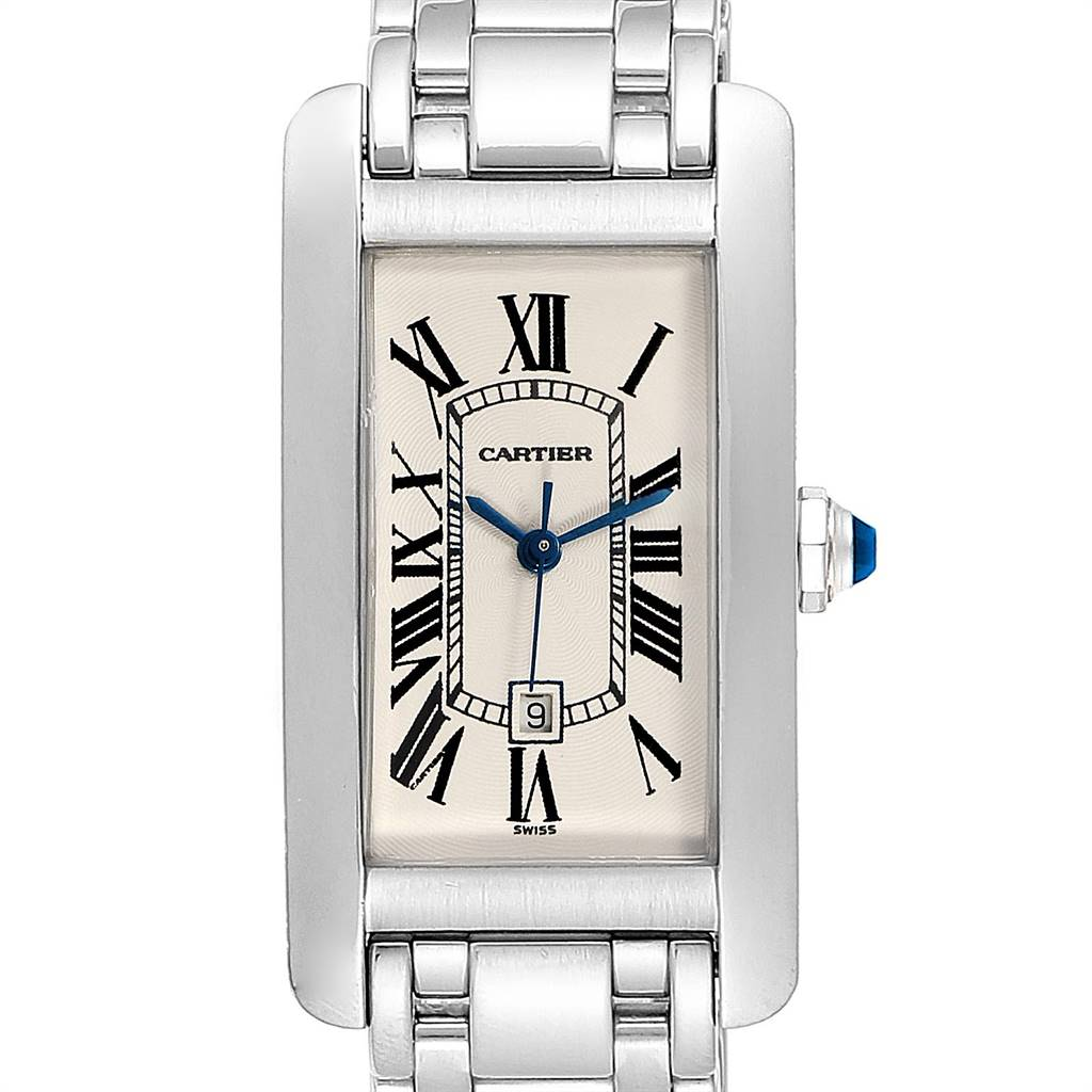 Cartier Tank Americaine Midsize White Gold Automatic Ladies Watch 1726 SwissWatchExpo