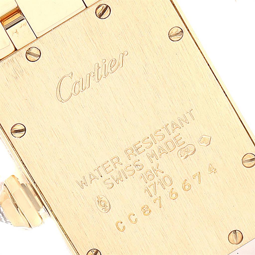 Cartier Tank Americaine 18K Yellow Gold Diamond Ladies Watch WB7012K2 SwissWatchExpo