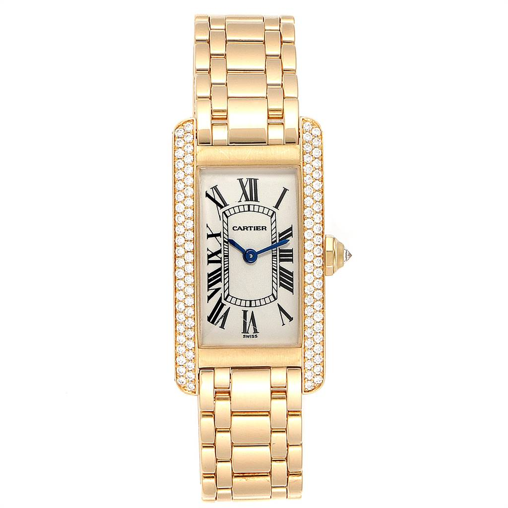 24220 Cartier Tank Americaine 18K Yellow Gold Diamond Ladies Watch WB7012K2 SwissWatchExpo