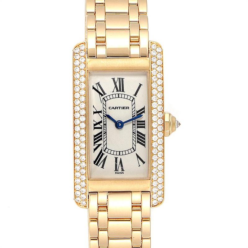 Cartier Tank Americaine 18K Yellow Gold Diamond Ladies Watch WB7012K2 SwissWatchExpo