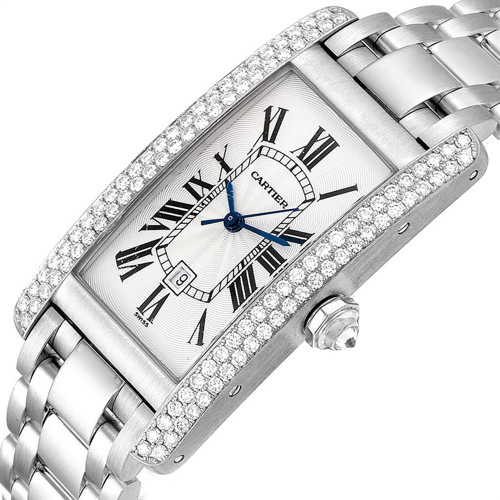 24663 Cartier Tank Americaine Midsize 18K White Gold Diamond Watch 1726 SwissWatchExpo