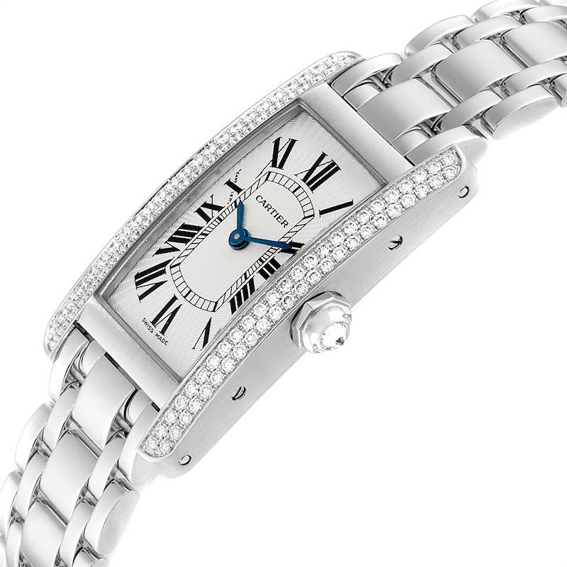 Cartier Tank Americaine White Gold Diamond Ladies Watch WB7018L1 SwissWatchExpo