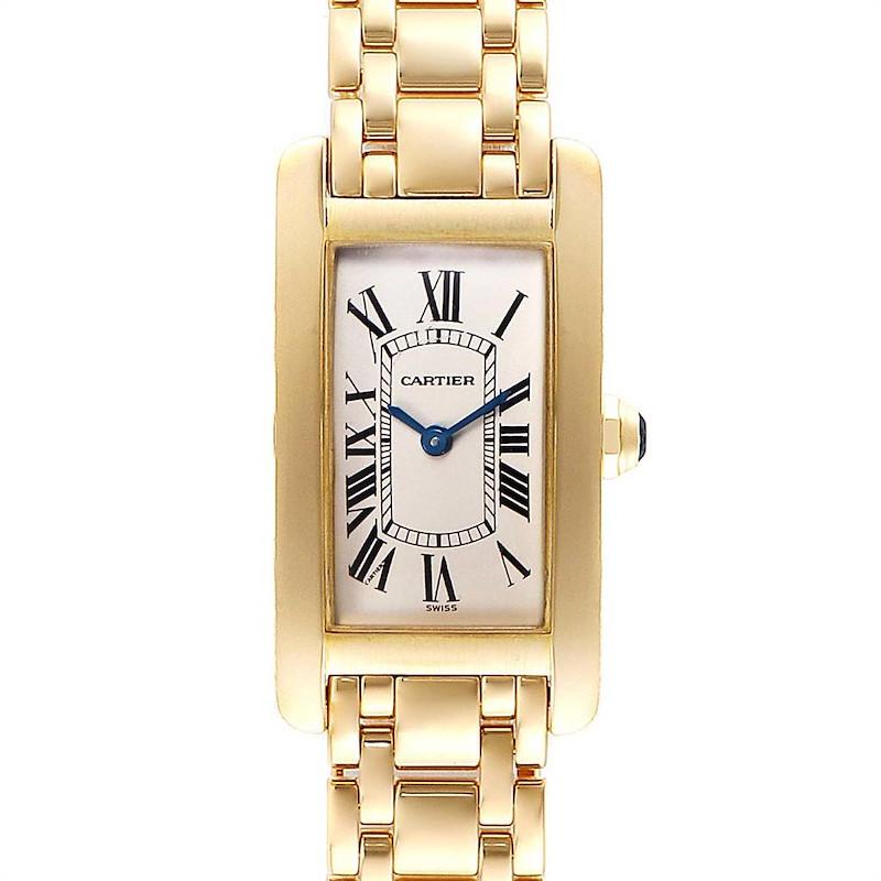 Cartier Tank Americaine 18K Yellow Gold Ladies Watch W26015K2 SwissWatchExpo