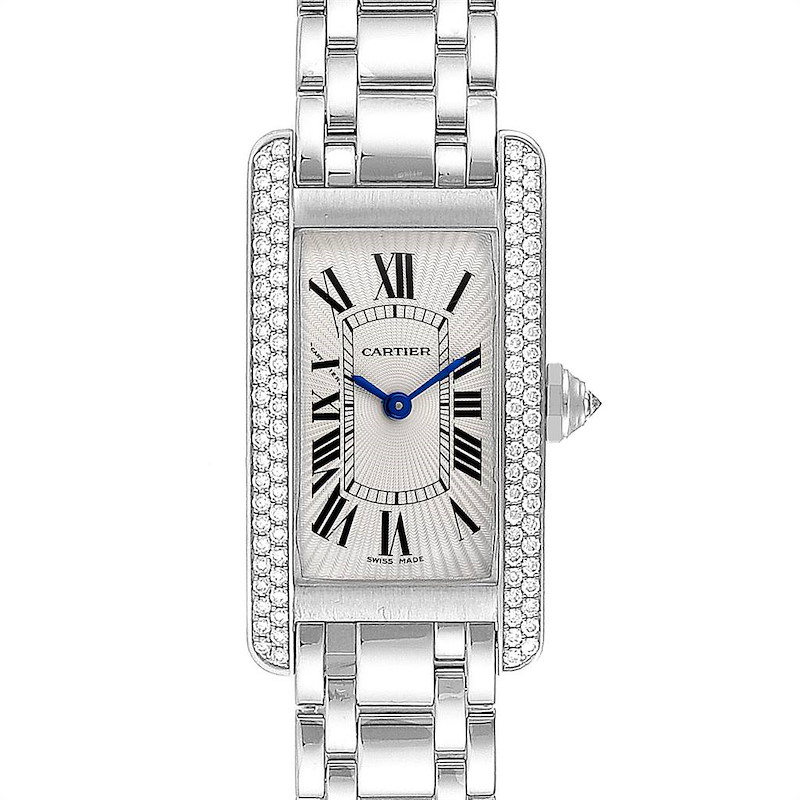 Cartier Tank Americaine White Gold Diamond Ladies Watch WB7018L1 SwissWatchExpo