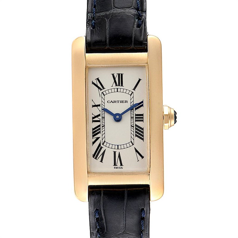 Cartier Tank Americaine Yellow Gold Black Strap Ladies Watch W2601556 SwissWatchExpo