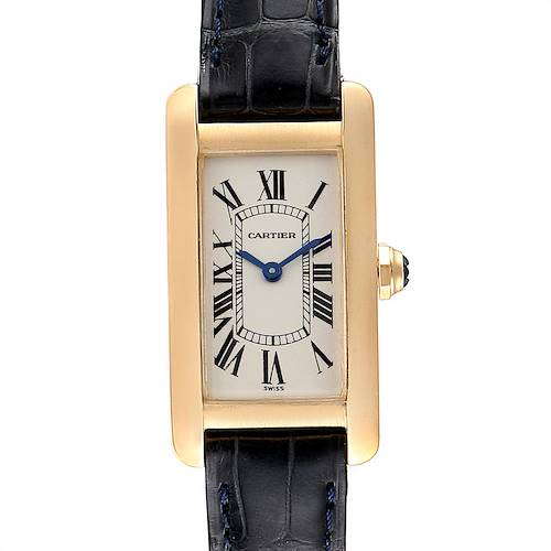 Photo of Cartier Tank Americaine Yellow Gold Black Strap Ladies Watch W2601556