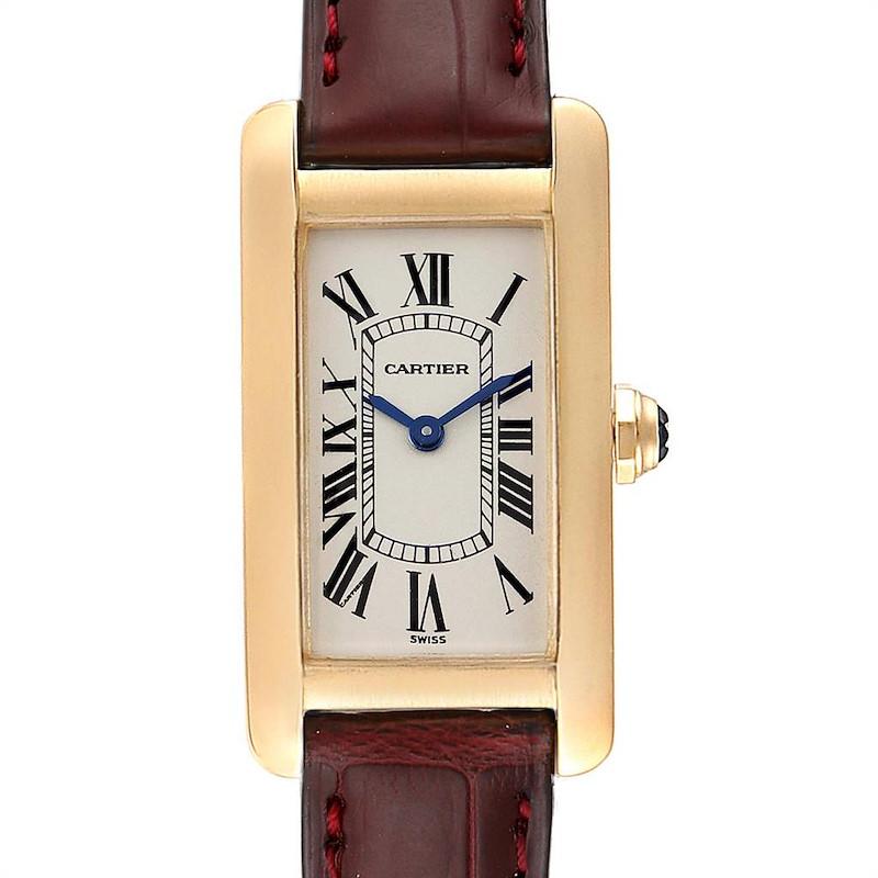 Cartier Tank Americaine Yellow Gold Brown Strap Ladies Watch W2601556 SwissWatchExpo