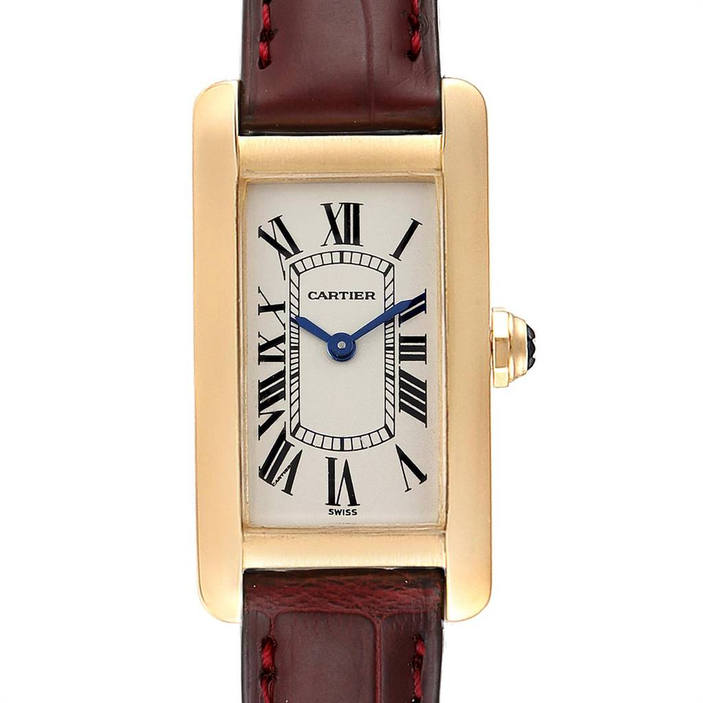 Cartier Tank Americaine Yellow Gold Brown Strap Ladies Watch W2601556 SwissWatchExpo