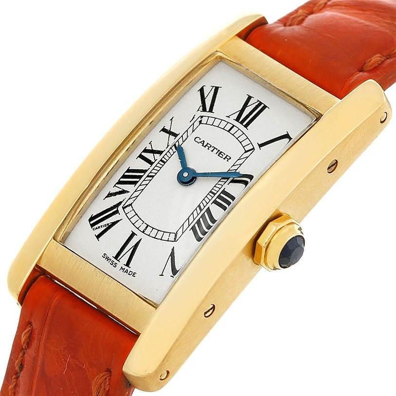 5015 Cartier Tank Americaine 18K Yellow Gold Watch W2601556 SwissWatchExpo