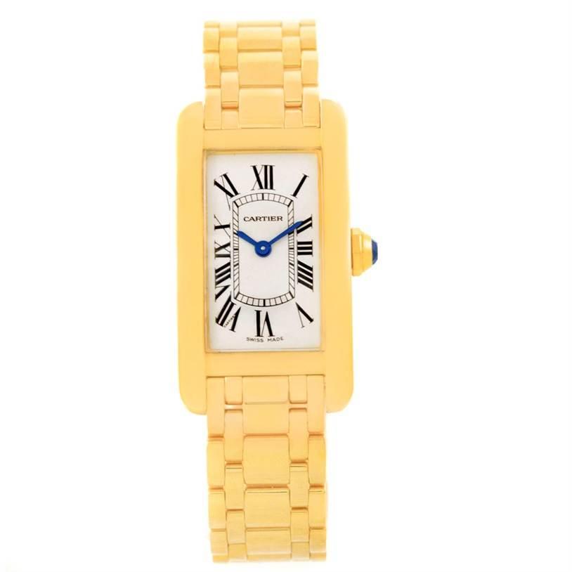 6416 Cartier Tank Americaine 18K Yellow Gold Ladies Watch W26015K2 SwissWatchExpo