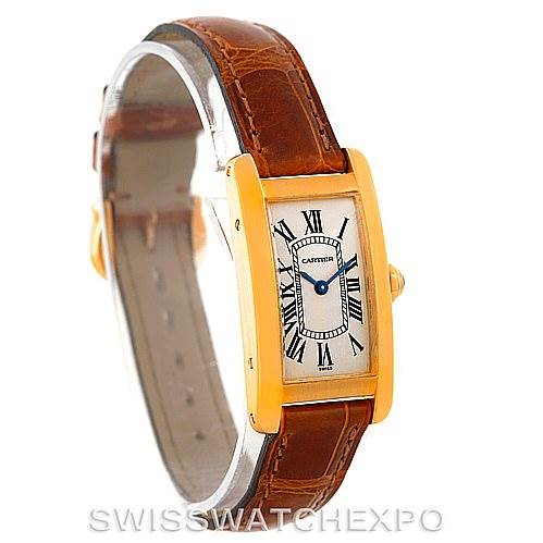 6293 Cartier Tank Americaine 18K Yellow Gold Ladies Watch W2601556 SwissWatchExpo