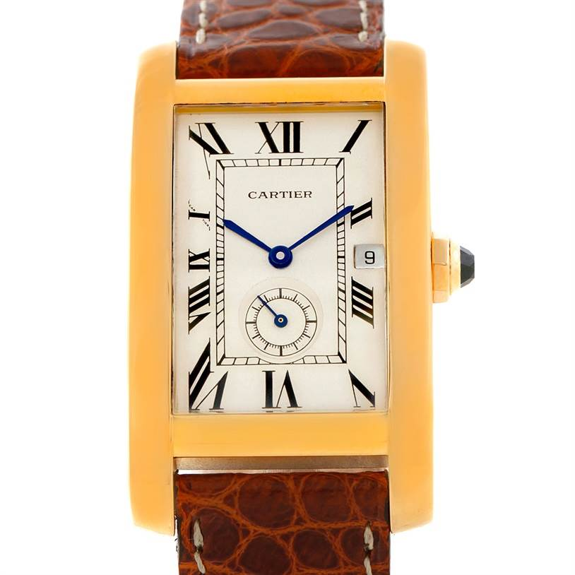 7489 Cartier Tank Americaine Midsize 18K Yellow Gold Watch W2600351 SwissWatchExpo