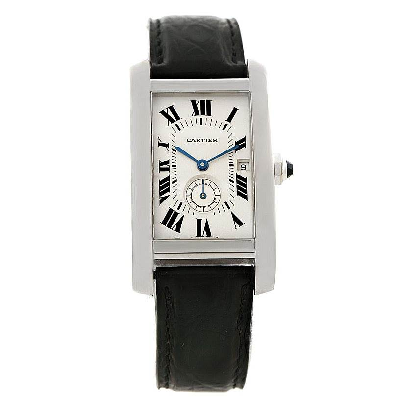 7490 Cartier Tank Americaine Midsize 18K White Gold Watch SwissWatchExpo