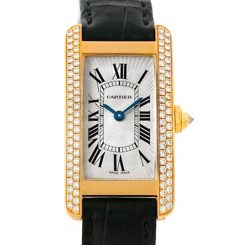 Photo of Cartier Tank Americaine Small Yellow Gold Diamond Watch WB701251