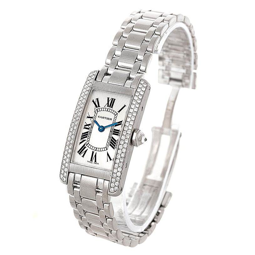 8100P Cartier Tank Americaine 18K White Gold Diamond Watch WB7018L1 SwissWatchExpo