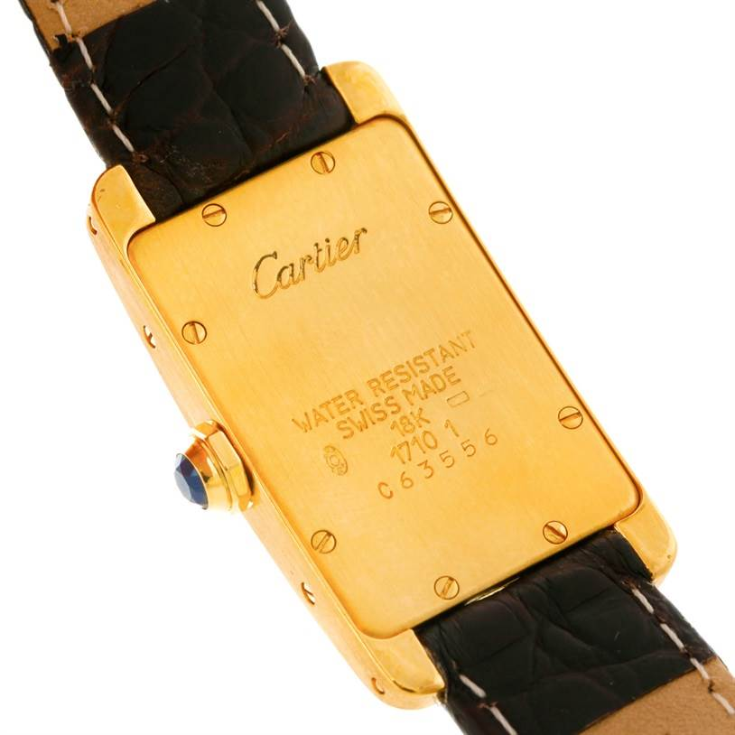 8030 Cartier Tank Americaine 18K Yellow Gold Ladies Watch W2601556 SwissWatchExpo