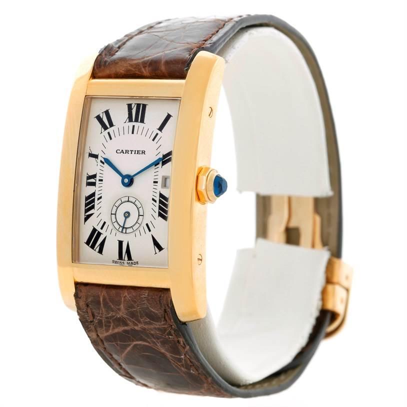 Cartier Tank Americaine Midsize 18K Yellow Gold Watch W2600351 SwissWatchExpo