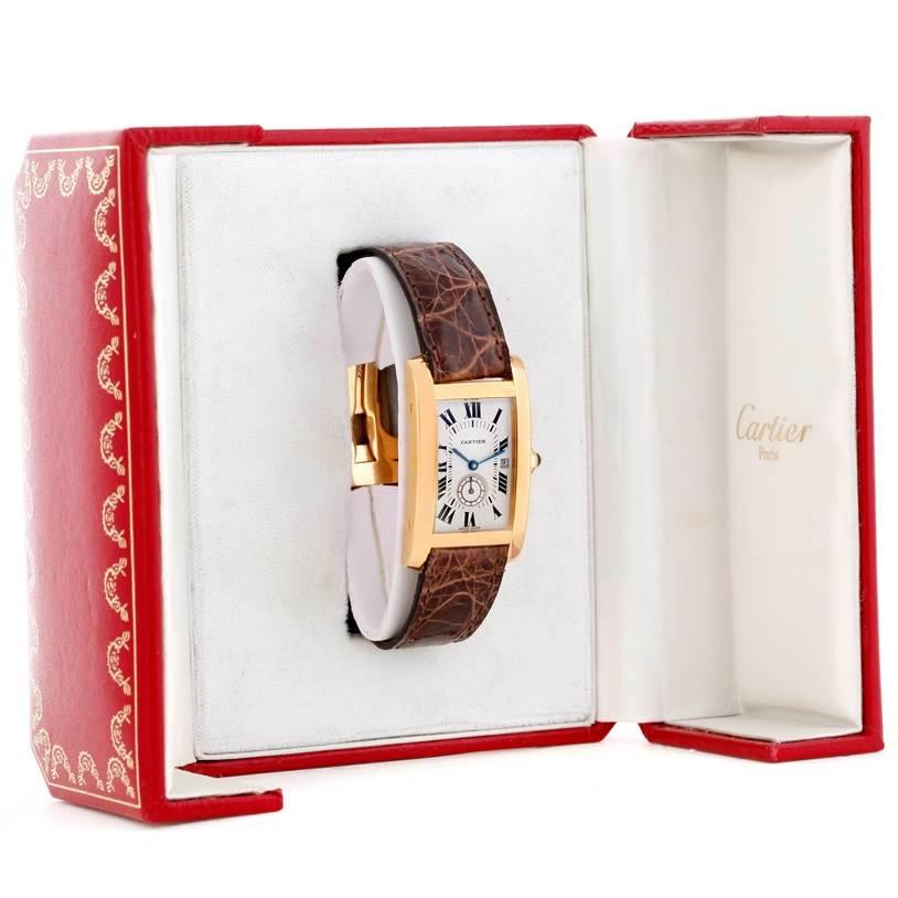 8984 Cartier Tank Americaine Midsize 18K Yellow Gold Watch W2600351 SwissWatchExpo