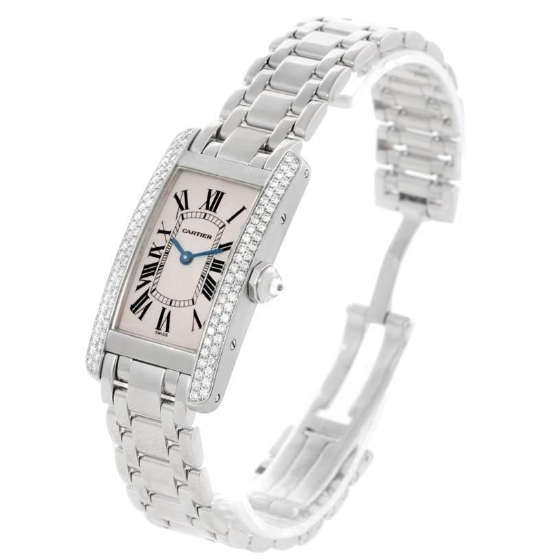 8840 Cartier Tank Americaine 18K White Gold Diamond Watch W2601956 SwissWatchExpo