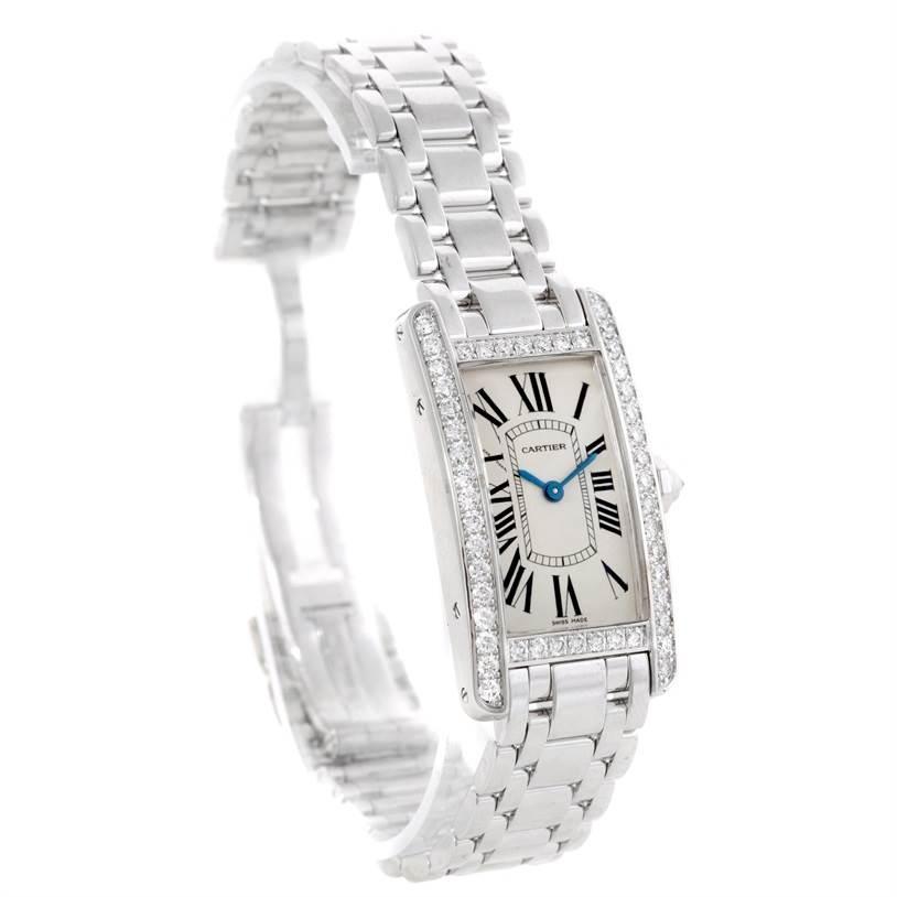 9409 Cartier Tank Americaine 18K White Gold Diamond Watch WB707331 SwissWatchExpo