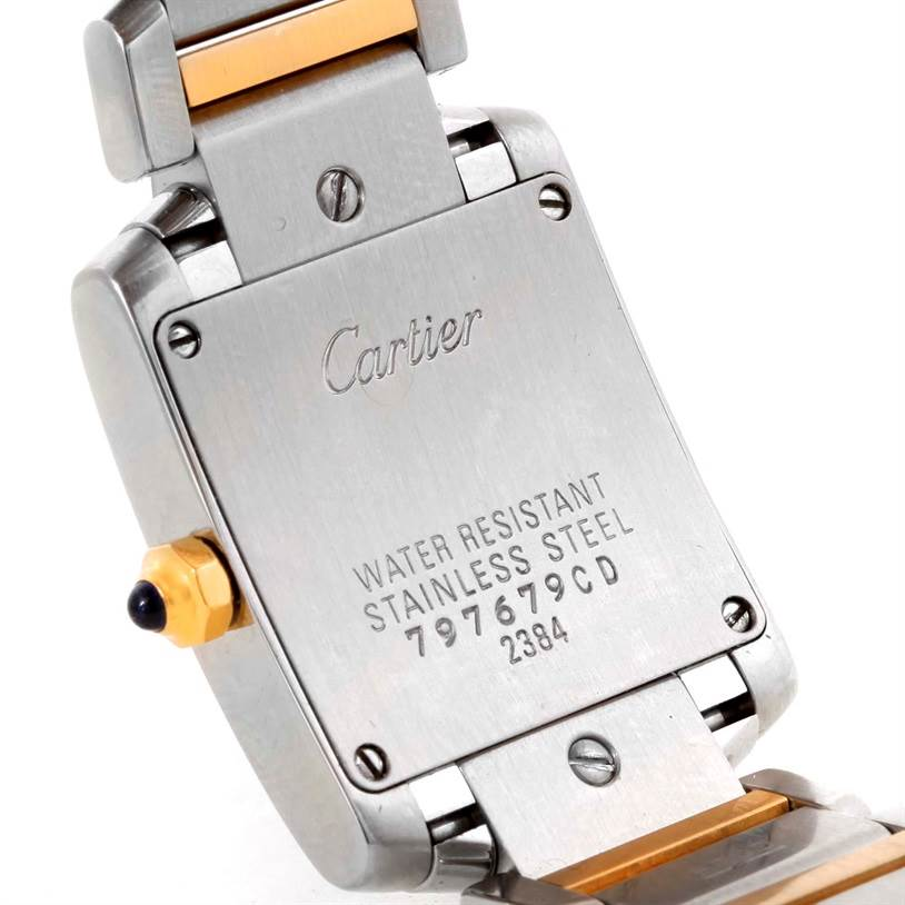 9066 Cartier Tank Francaise Small Steel 18k Yellow Gold Watch W51007Q4 SwissWatchExpo