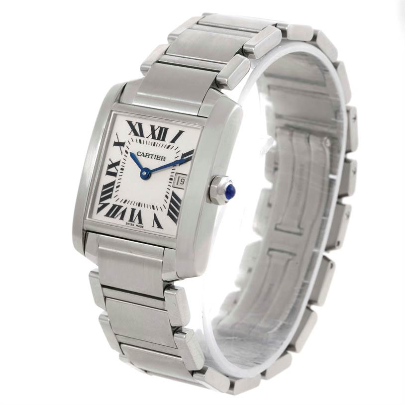 8111 Cartier Tank Francaise Date Midsize Stainless Steel Watch W51011Q3 SwissWatchExpo