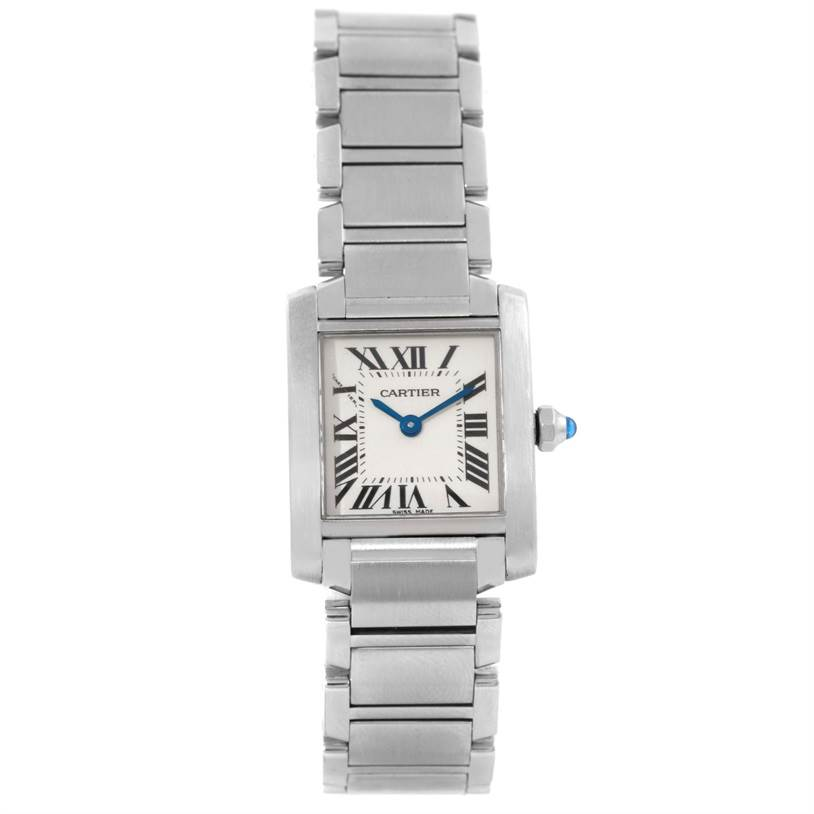 9990 Cartier Tank Francaise Small Stainless Steel Watch W51008Q3 SwissWatchExpo