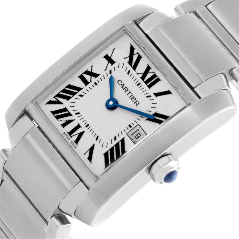 8609 Cartier Tank Francaise Midsize Date Steel Quartz Watch W51011Q3 SwissWatchExpo