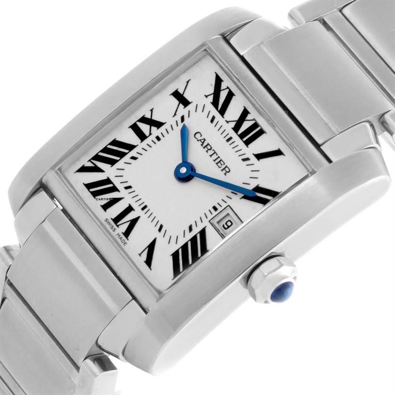Cartier Tank Francaise Midsize Date Steel Quartz Watch W51011Q3 SwissWatchExpo