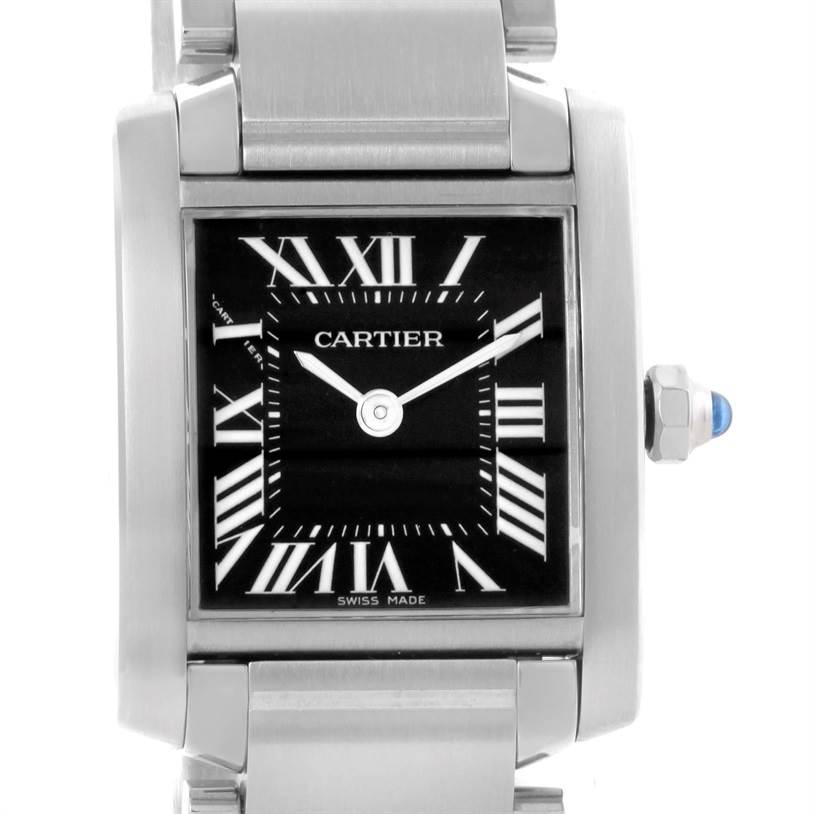 10356 Cartier Tank Francaise Small Stainless Steel Watch W51026Q3 SwissWatchExpo