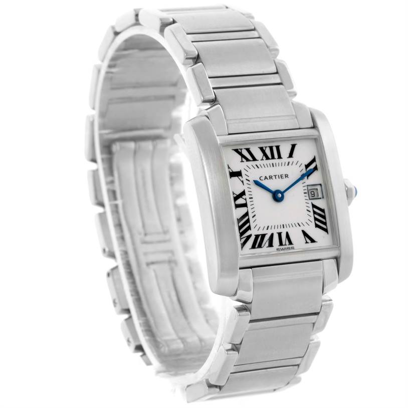 12181 Cartier Tank Francaise Midsize Date Steel Quartz Watch W51011Q3 SwissWatchExpo