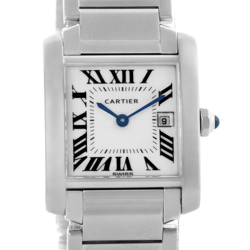 12181 Cartier Tank Francaise Midsize Date Steel Quartz Watch W51011Q3 SwissWatchExpo