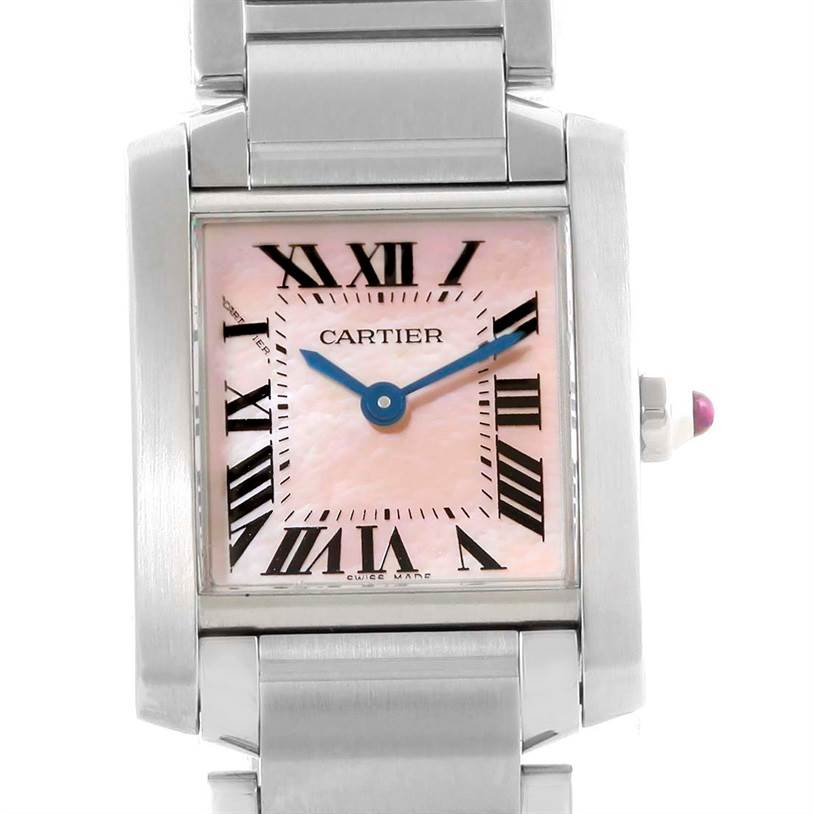 10010 Cartier Tank Francaise Pink Mother of Pearl Dial Quartz Watch W51028Q3 SwissWatchExpo