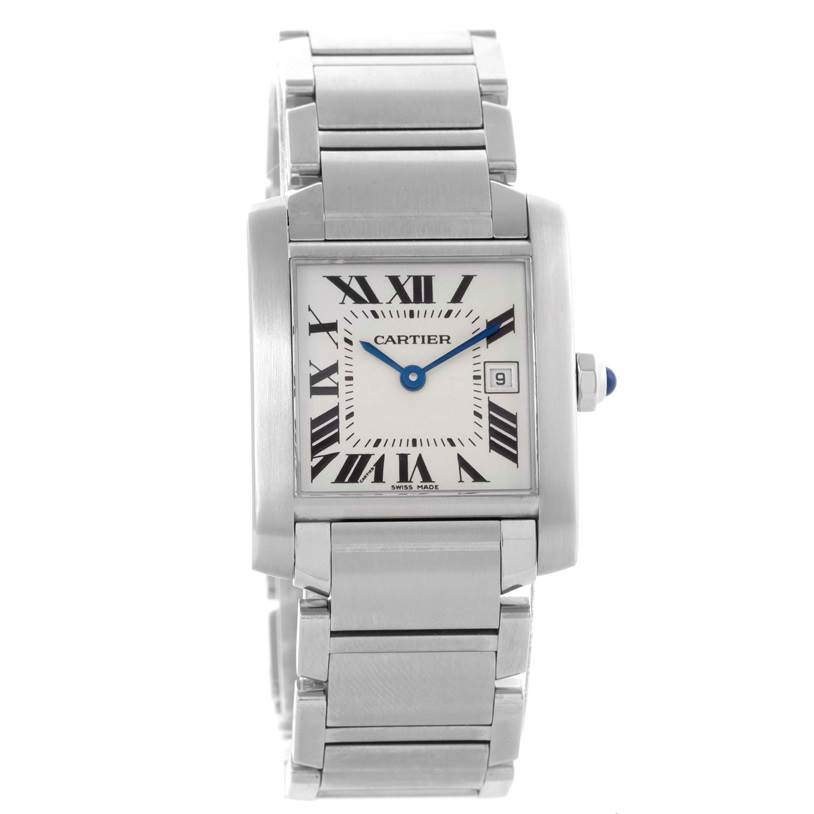10485x Cartier Tank Francaise Midsize Date Steel Quartz Watch W51011Q3 SwissWatchExpo