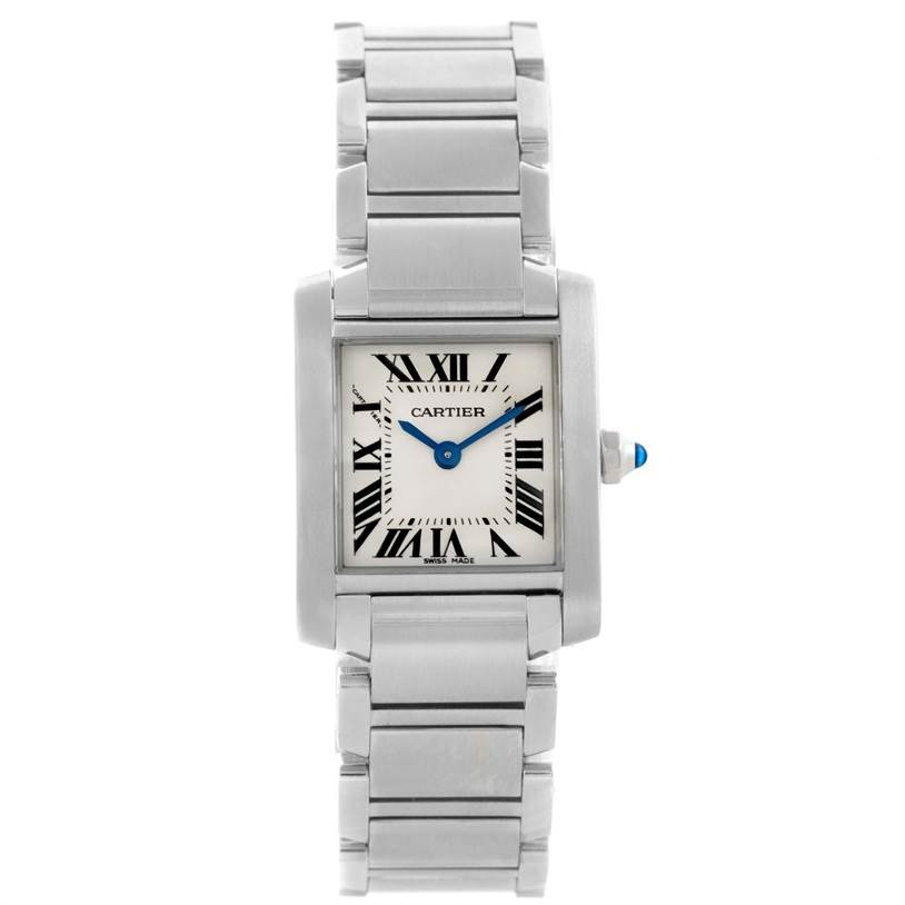 10938 Cartier Tank Francaise Ladies Silver Dial Watch W51008Q3 Box Papers SwissWatchExpo