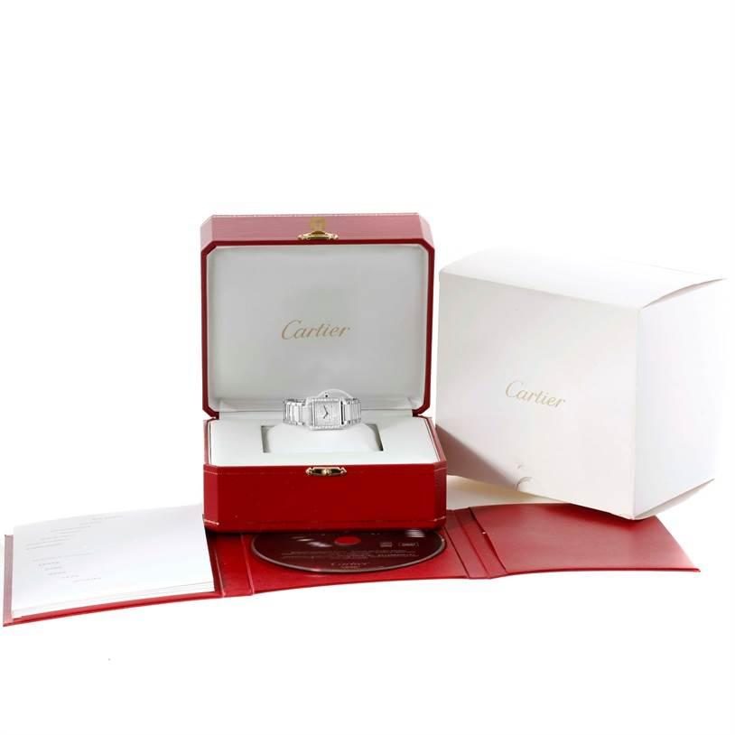 11460 Cartier Tank Francaise Small 18k White Gold Diamond Watch WE1002S3 SwissWatchExpo