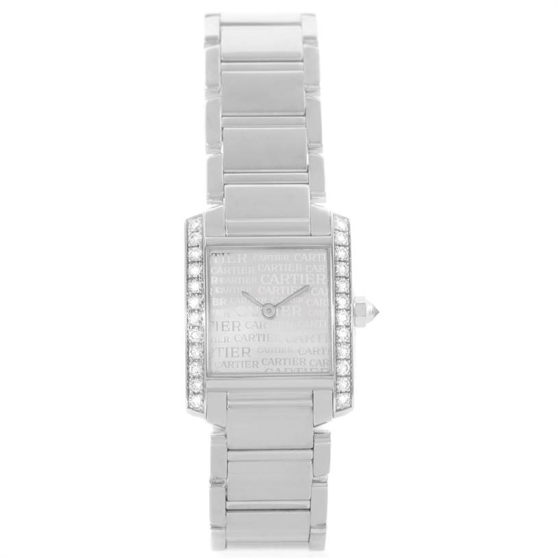 11460 Cartier Tank Francaise Small 18k White Gold Diamond Watch WE1002S3 SwissWatchExpo