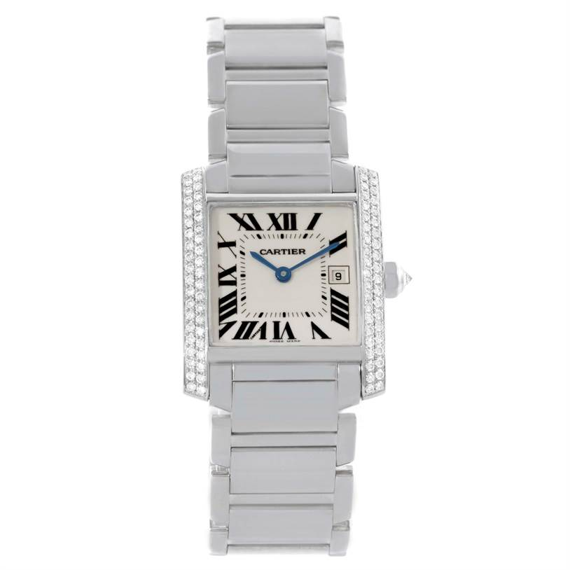 11403 Cartier Tank Francaise Midsize 18K White Gold Diamond Watch WE1018S3 SwissWatchExpo