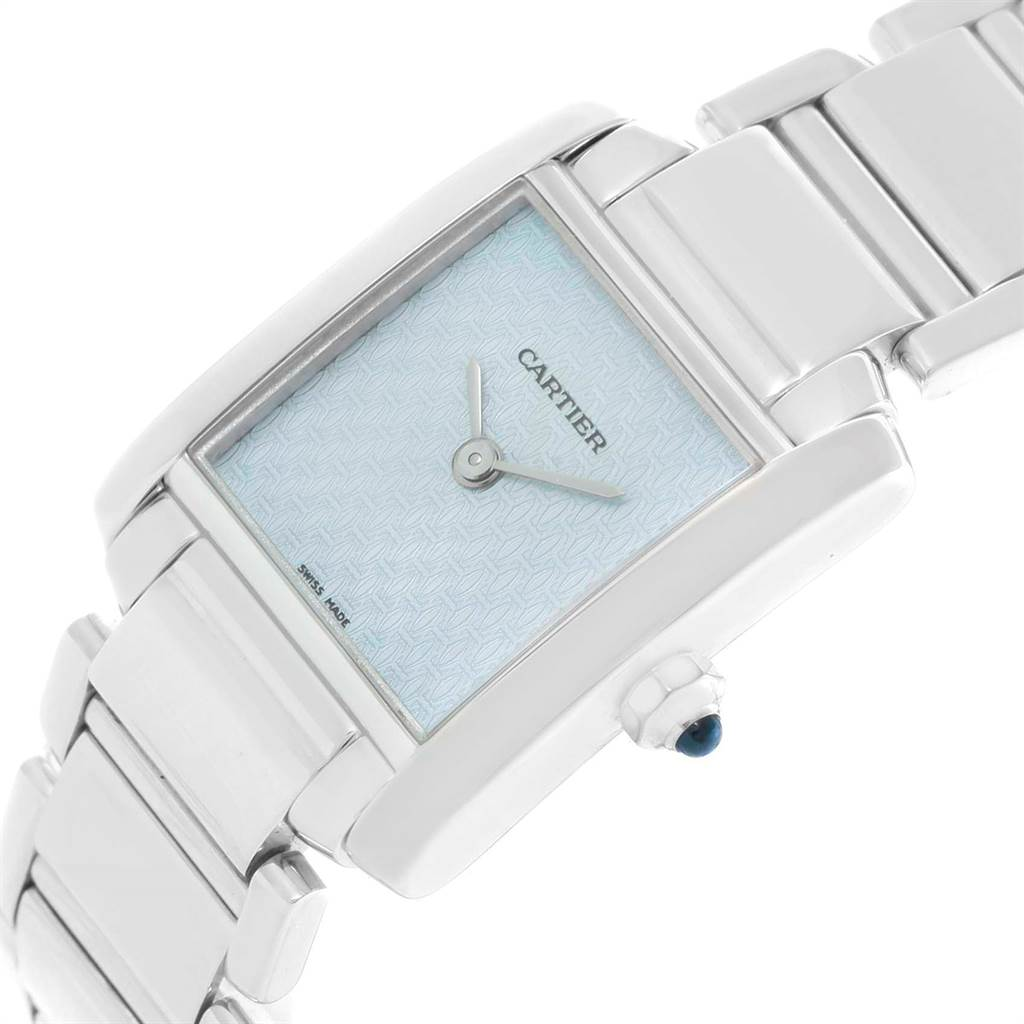 11461 Cartier Tank Francaise 18K White Gold Blue Dial Ladies Watch 2403 SwissWatchExpo