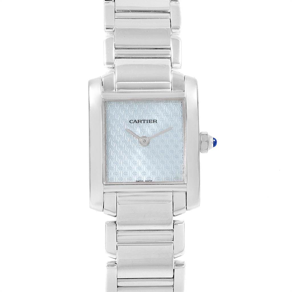 Cartier Tank Francaise 18K White Gold Blue Dial Ladies Watch 2403 SwissWatchExpo