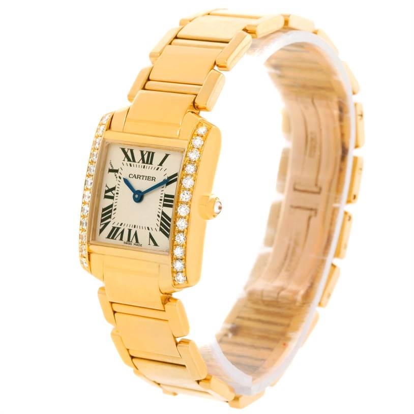 11438 Cartier Tank Francaise Small Yellow Gold Diamond Watch WE1001R8 SwissWatchExpo