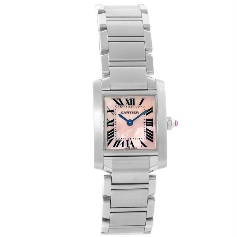 11938 Cartier Tank Francaise MOP Dial Pink Sapphire Crown Watch W51028Q3 SwissWatchExpo